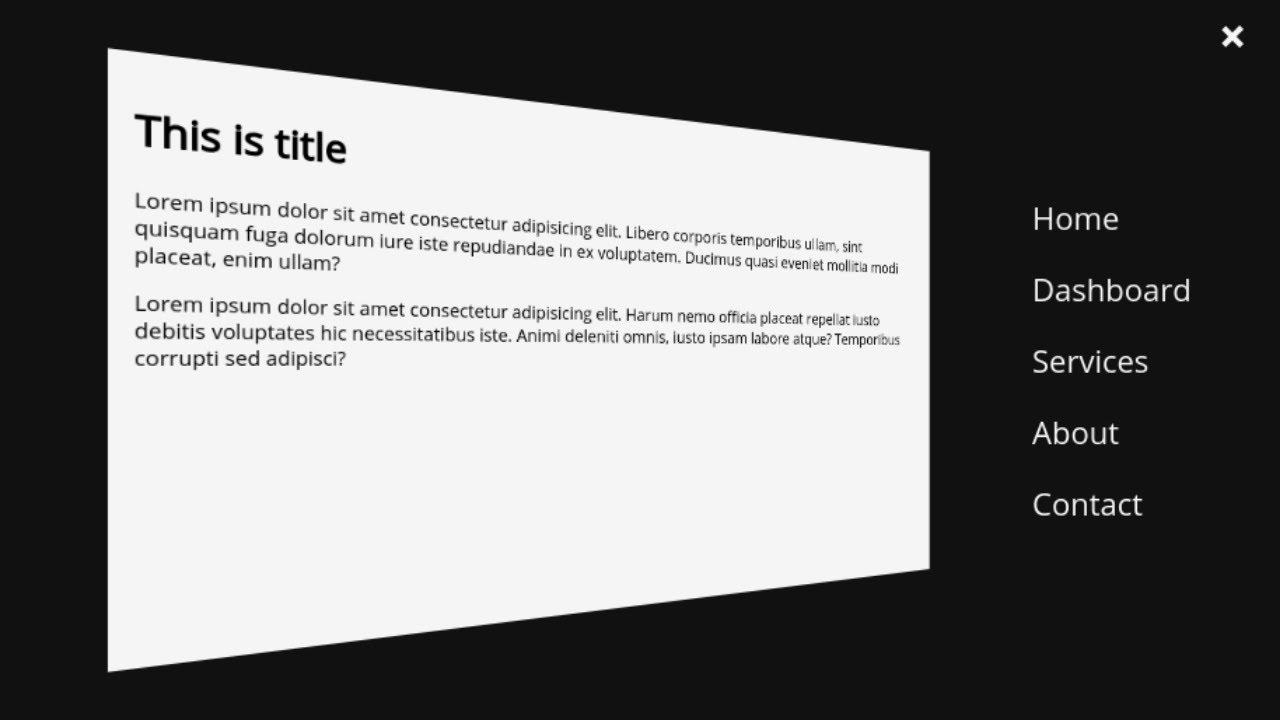 3D OffCanvas Sidebar Navigation using HTML, CSS & JavaScript.