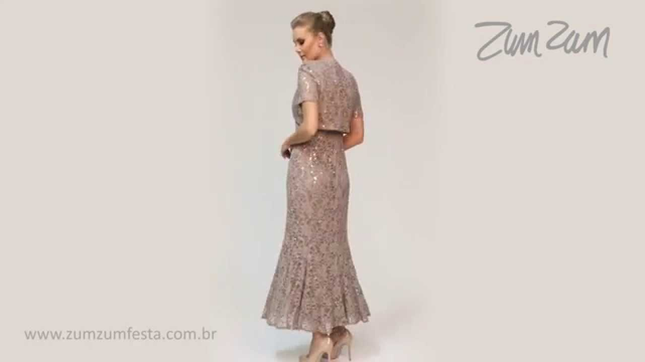 Vestido Longo Em Renda Com Bordado E Bolero 102031