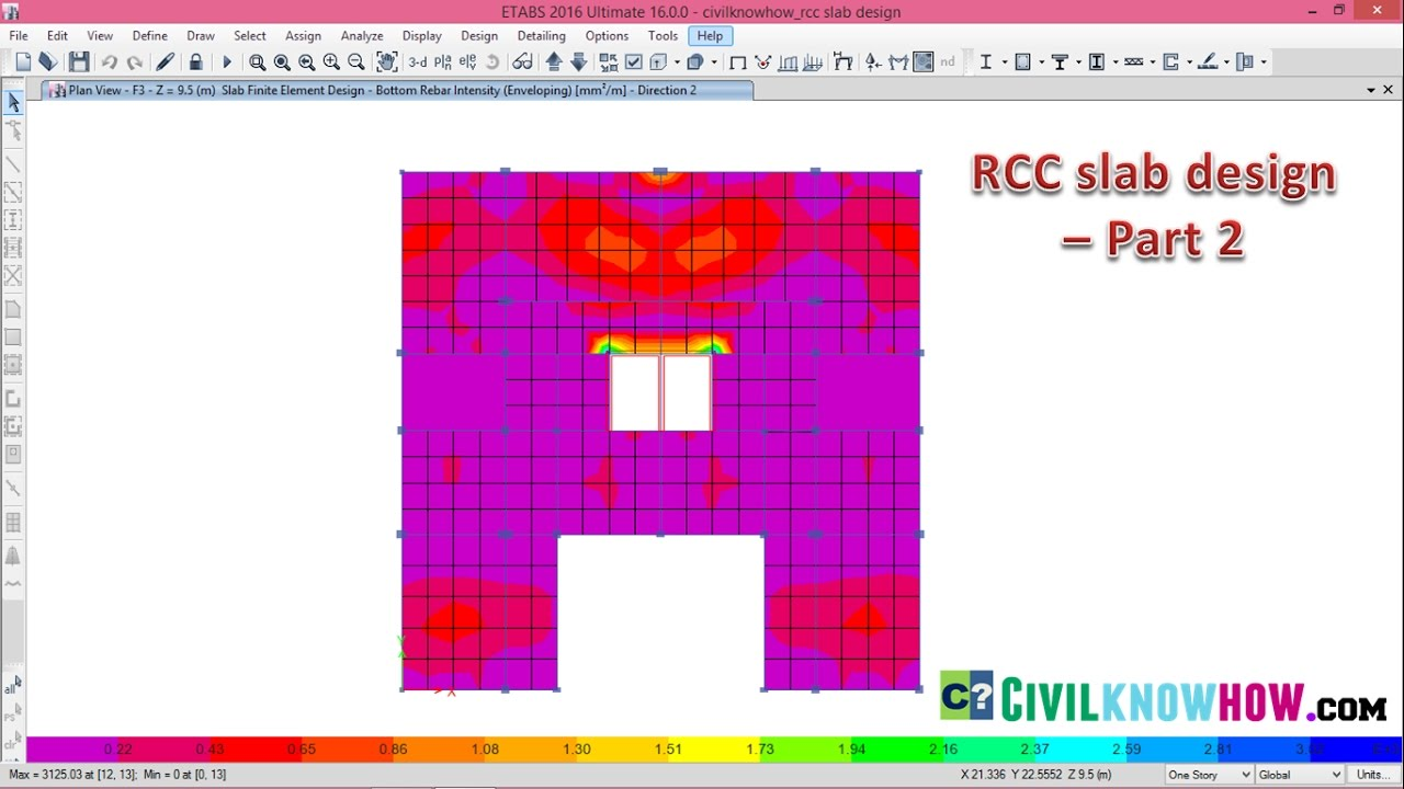 Rcc Slab Design : Rcc slab design in etabs part beginners tutorial