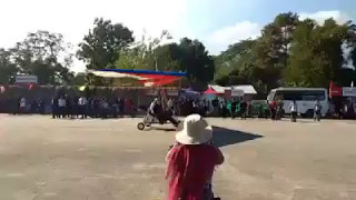 Micro light aircraft taking off at the concert venue in Aizawl Mizoram