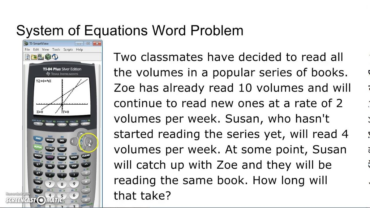worksheet Word Problem solving systems of equations word problem with calculator youtube calculator