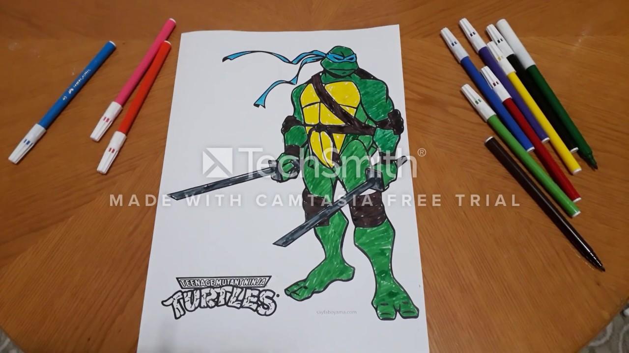 Ninja Kaplumbaga Boyama Colour Ninja Turtle Painting Youtube