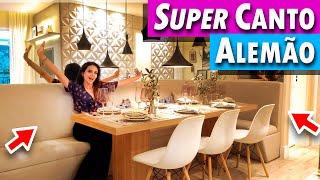 Tour pelo Apê Super Canto Alemão 8 Pessoas 49M²  parede 3D, cozinha Fofa e mini Escritório na Sala