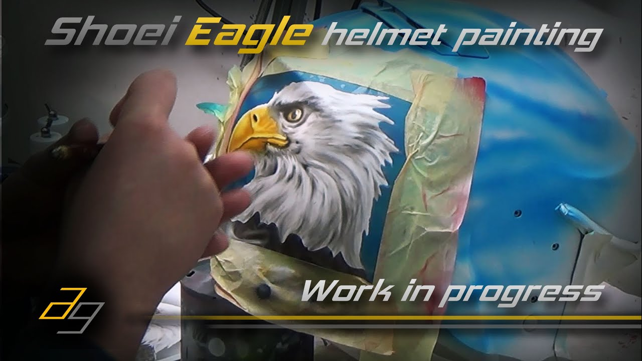 Download Eagle on Shoei helmet painting using airbrush - Work in Progress