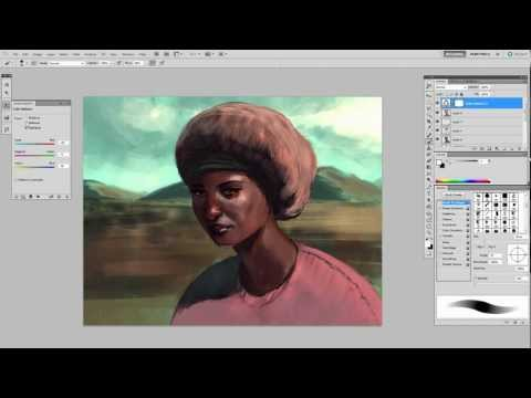Coloring a sketch: African Female Portrait – Digital Painting Demo