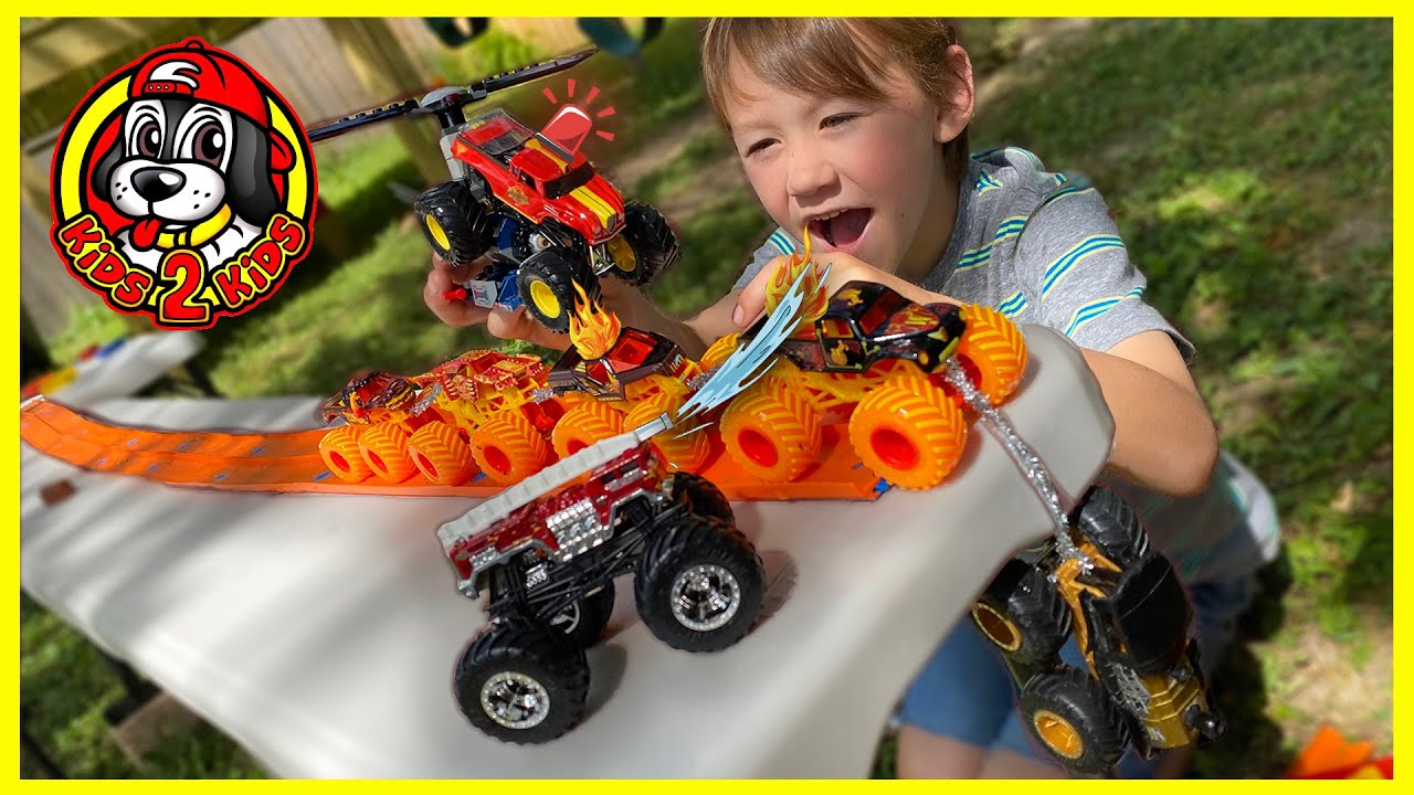 🚒 FIRE TRUCK RESCUE MISSION (Monster Jam & Hot Wheels Toy Trucks RADICAL RESCUE, 5 ALARM, BACKDRAFT)