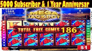 ★ MEGA JACKPOT HANDPAY ★ 5000 SUBSCRIBER & 1 YEAR ANNIVERSARY SPECIAL ★ HIGH LIMIT SLOT MACHINE ★