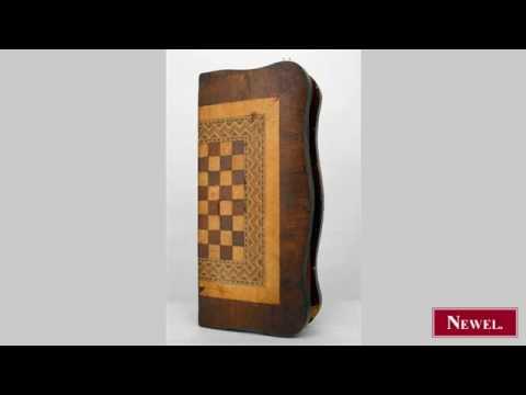 Antique Italian Rococo style parquetry folding game board