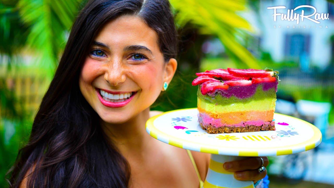 Fully Raw Vegan Rainbow Cake
