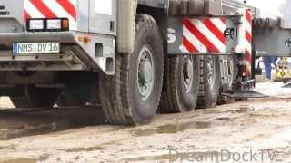Terex Demag AC100 Voss Mobilkran hebt Betonteile crane lifting concrete beams(, 2014-02-23T18:54:41.000Z)
