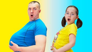 Liza does exercises with dad | We ate too much | SKORIKI