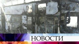 В Казахстане прямо на ходу загорелся автобус, перевозивший десятки людей.