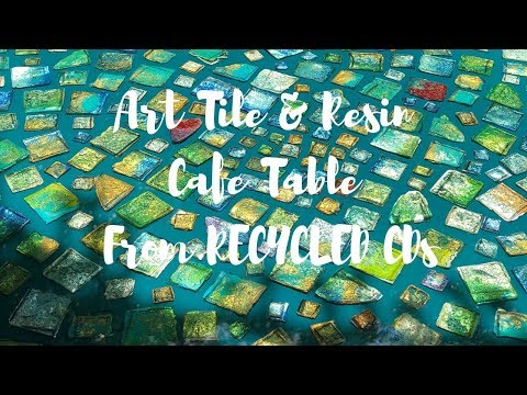 DIY Resin Art Tile Cafe Table