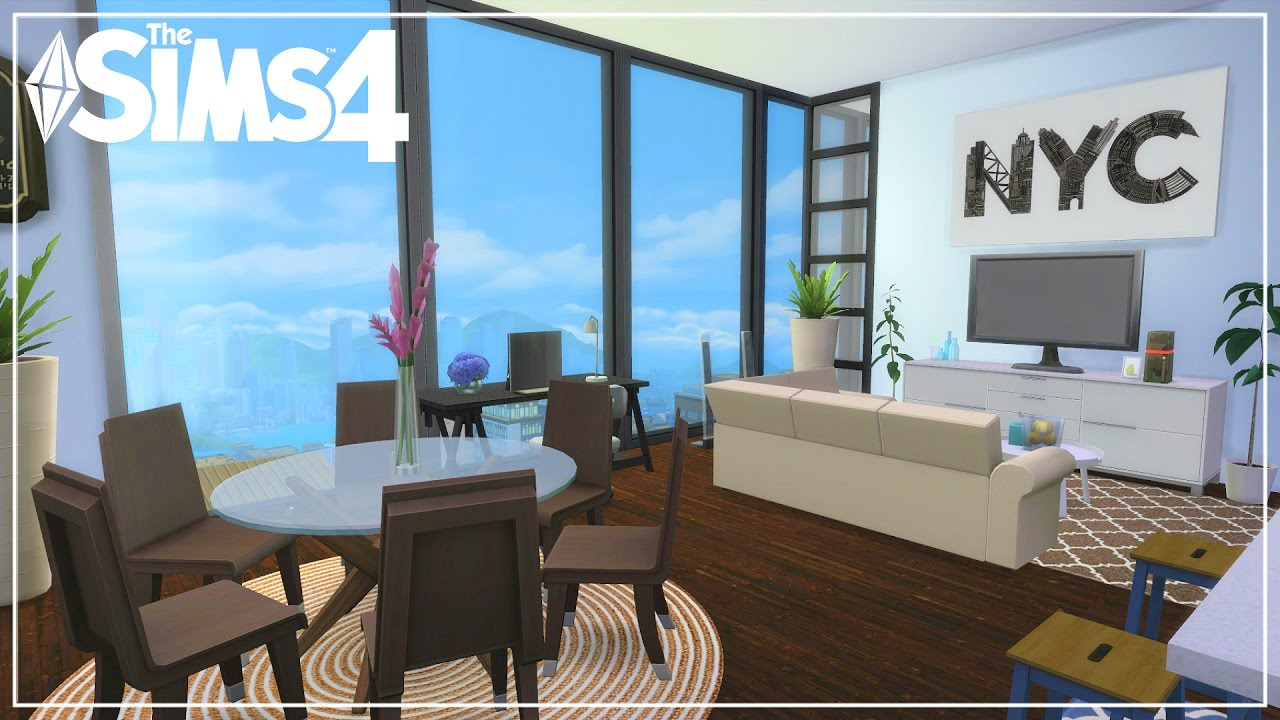The sims 4 city living build modern views apartment New build living room designs