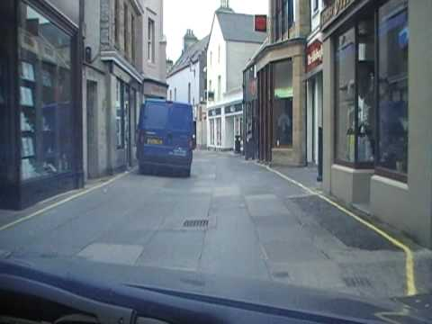 A drive from the Westray ferry through the narrow street of Kirkwall, Orkney