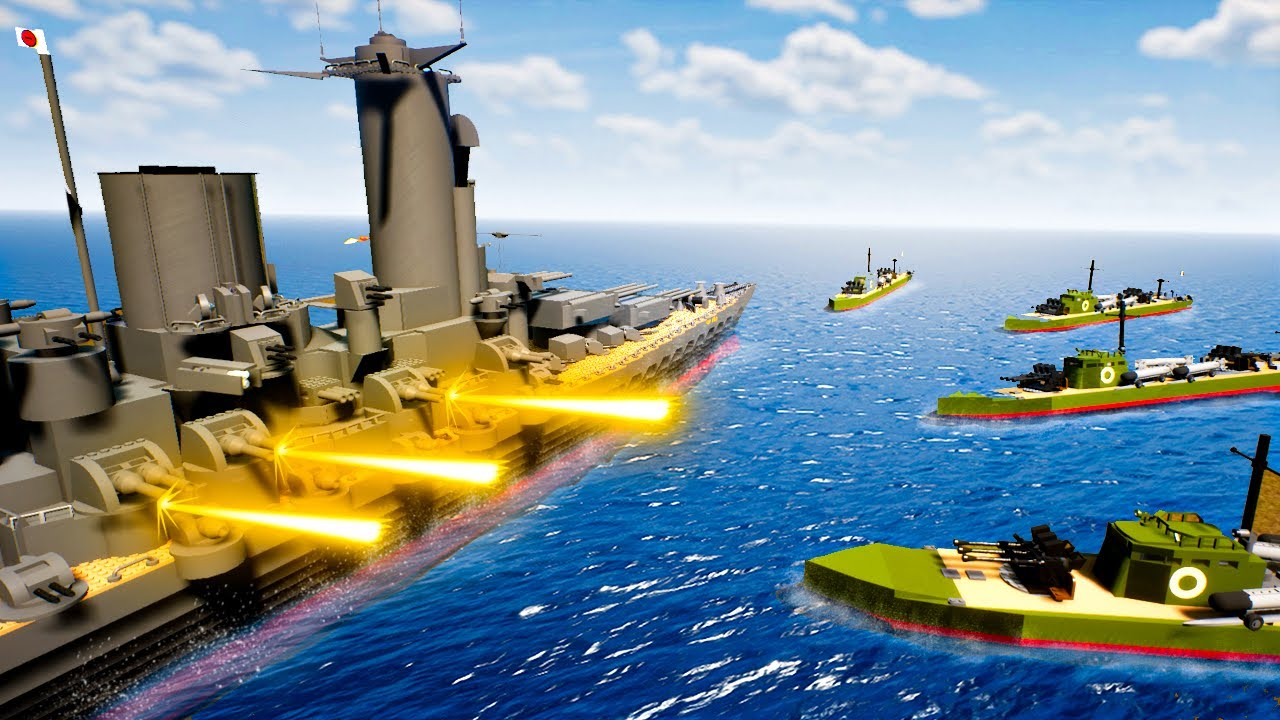 The BIGGEST BATTLESHIPS Wage War in Brick Rigs Multiplayer! Protect the Aircraft Carrier!