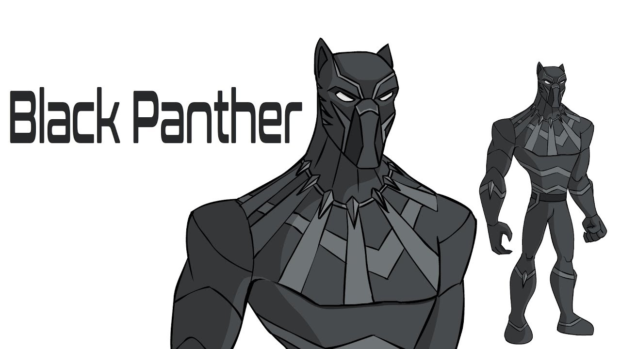 How To Draw Black Panther Draw Cartoon Character Black Panther The Avenger Marvel Black Panther Youtube
