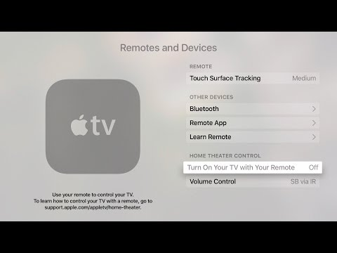 How do i program my apple tv remote to turn on my tv