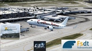 FSX HD Caribbean Airlines 737 Takeoff from Fort Lauderdale KFLL