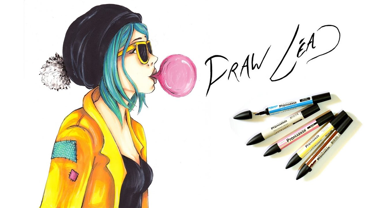 Dessin feutres alcool promarker chewing gum draw l a - Dessin de jeune fille ...