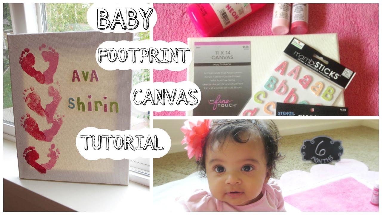 baby footprint canvas tutorial youtube