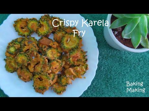 Crispy Karela Fry   Karela Fry   Bitter Gourd Fry   Karela Pakoda   Baking Making