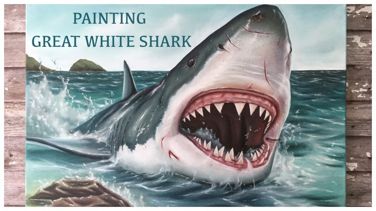 Great White Shark Painting Youtube