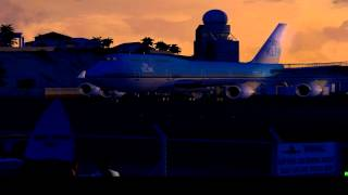 FSX KLM 747-400 Dawn Departure from Princess Juliana(Amazing Graphics)