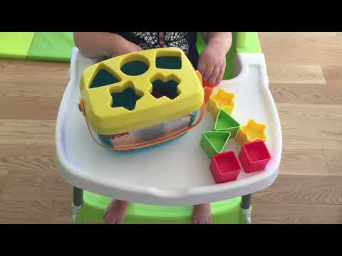 18-month-old Playing With Baby's First Blocks By Fisher Price, Shape Sorting Toy