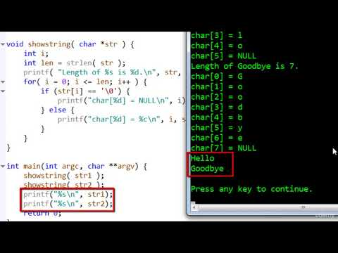 044 Null terminated strings | Welcome to the course C programming