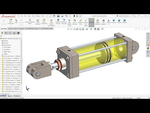 Solidworks tutorial | Design of Hydraulic Cylinder in Solidworks