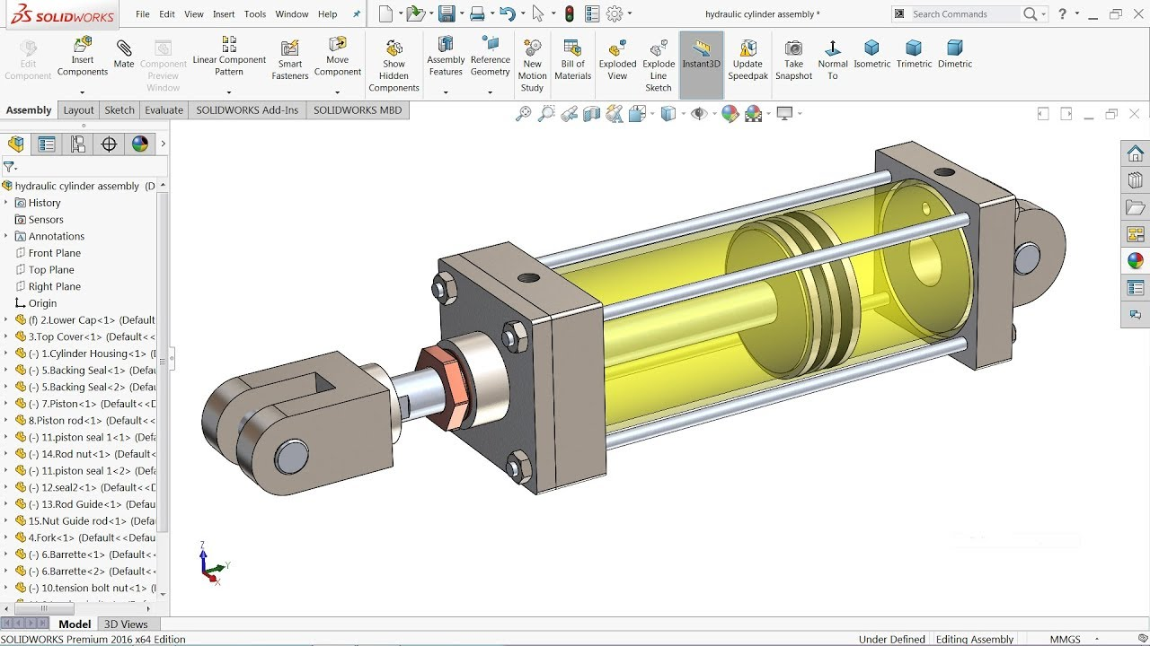 Solidworks Tutorial Design Of Hydraulic Cylinder In