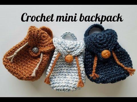 How to crochet mini backpack 🎒