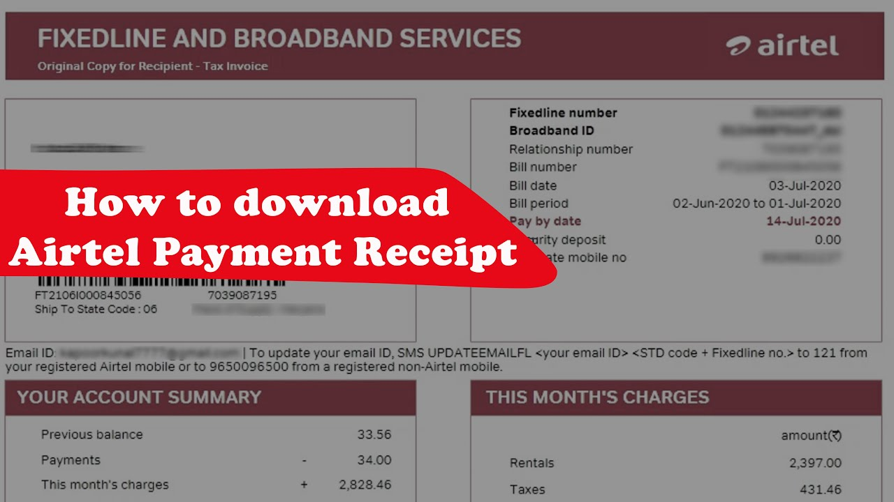 How To Get Payment Receipt Of Airtel Postpaid Mobile Bill