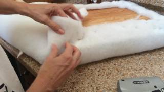 How to: Staple Batting or Fabric around a Corner when Recovering a Cushion