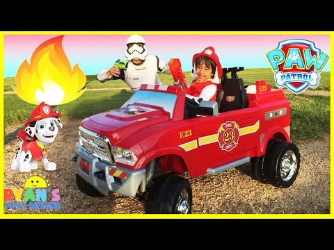 FIRE TRUCK FOR KIDS POWER WHEELS RIDE ON Paw Patrol Video Marshall Put out Fire Egg Surprise Toys