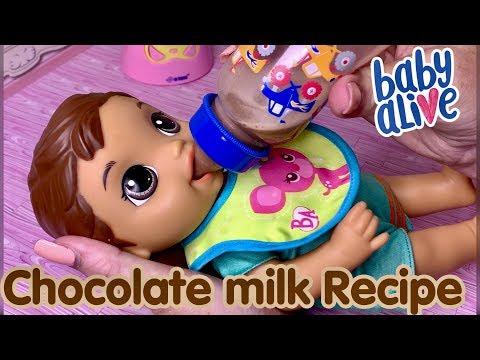 Baby Alive LUKE feeding NEW Chocolate Milk Recipe DIY