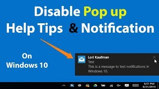 How to Disable Pop up Notification & Help Tips on windows 10 | Deep Info