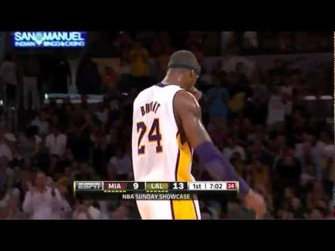 Wade busts Kobe's nose, so Kobe decides to bust Wade's ass. 33 points, 18 in the first quarter