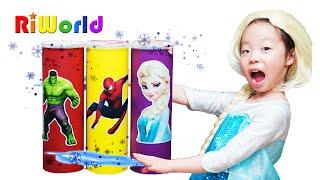 Elsa meet Hulk. Superhero story with snacks