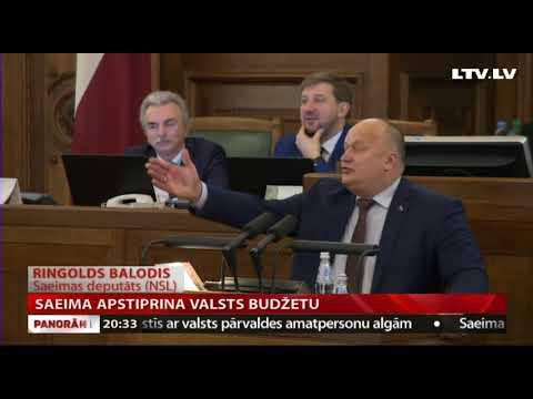 Saeima apstiprina valsts budžetu