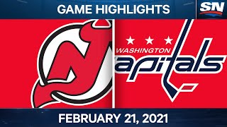 NHL Game Highlights | Devils vs. Capitals - Feb. 21, 2021