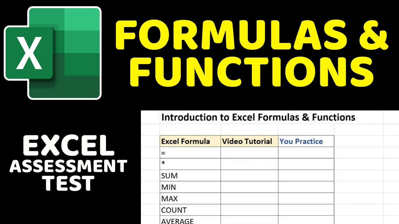 Excel Assessment Test Formulas and Functions Tutorial SUM, MIN, MAX,  COUNT, AVERAGE