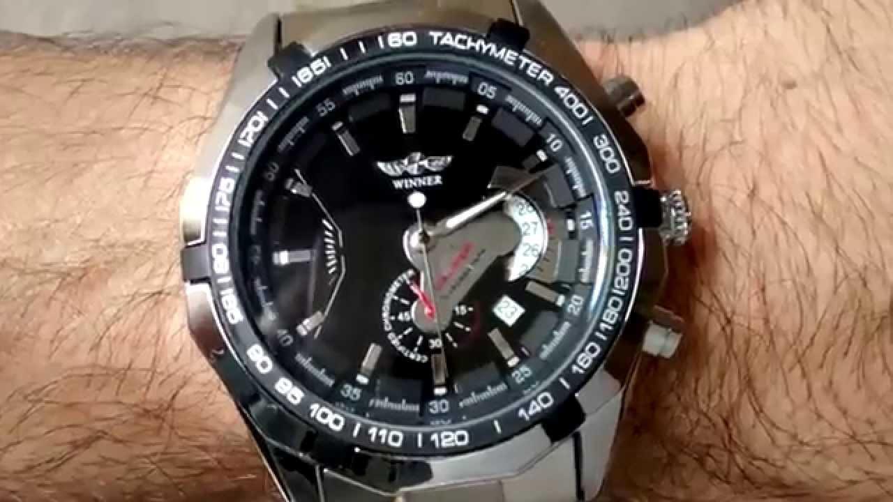 aede046b390 Relógio Winner Automático Pulseira De Aço Data Importado - YouTube