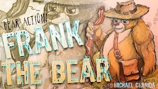 Drawing Frank the bear character art using pencil and Copic markers