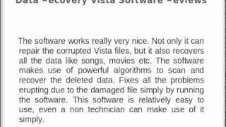 Data Recovery Vista Software Reviews