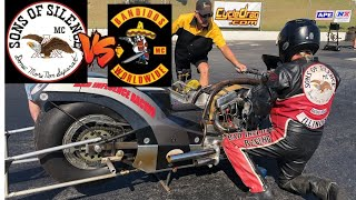 SONS OF SILENCE VS BANDIDOS MC IN NITRO HARLEY PRO FUEL DRAG BIKE RACE! FULL MAN CUP EVENT!