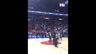 Yoni Z. sings National Anthem at Miami Heat game Jewish Heritage Night