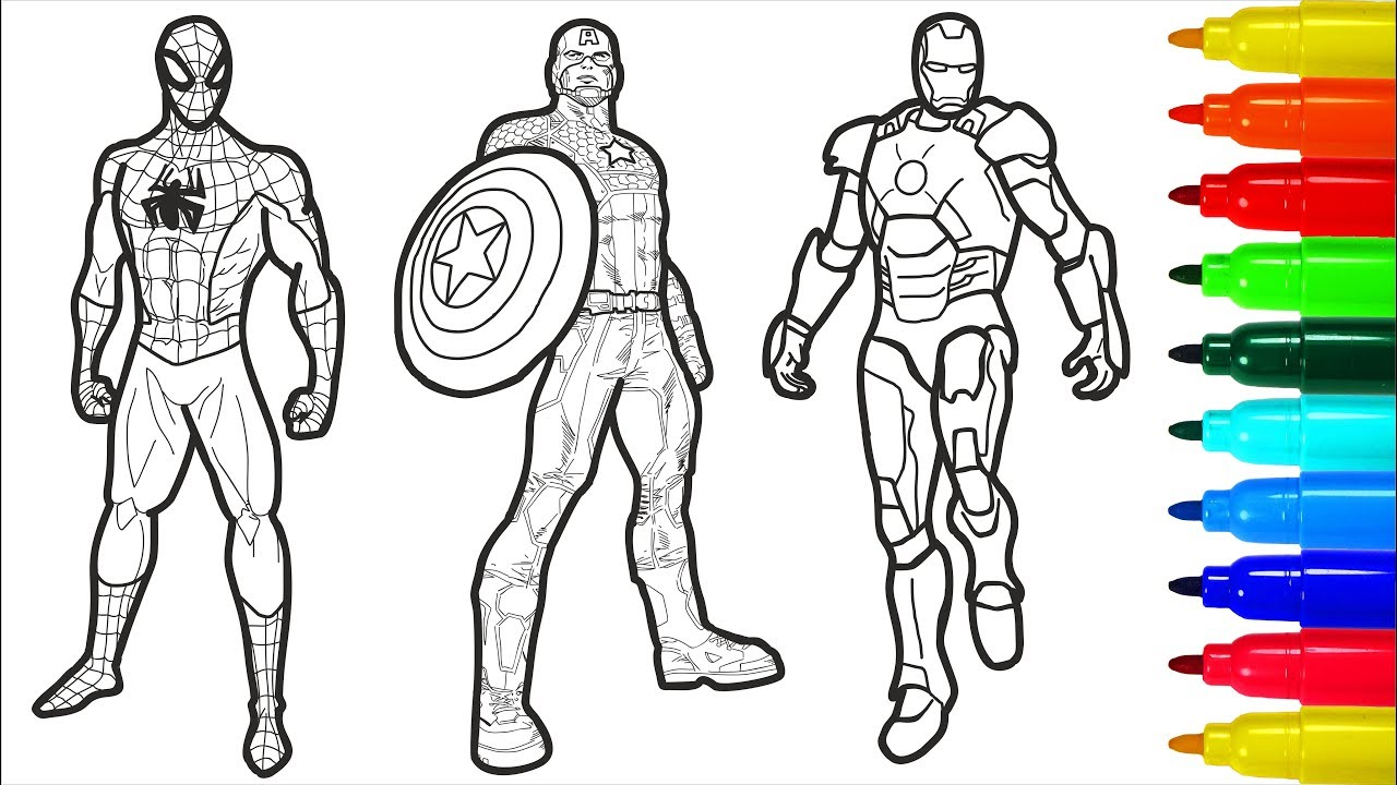Spiderman and AVENGERS SUPERHEROES Coloring Pages | AVENGERS Colouring  Pages For Kids