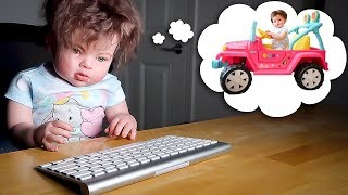 Reborn Toddler Baby Doll Sneaks Out of Bed to Buy Pink Barbie Power Wheels Jeep Car